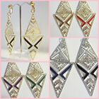CLIP or Pierced Chevron Design 3 inch Rhinestone Fashion Earrings Choose Color