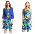 Danny & Nicole Blazer, Dress Set 2 pc blue floral 3/4 Sleeve women's size 12 NEW