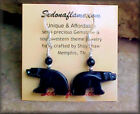 BLACK ONYX Walking BEAR Fetish Animal Earrings in Silver  #0826