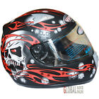 Viper Skull Full Face Scooter Motorcycle Motorbike Helmet ACU Gold Approval Red