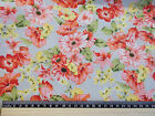 Grey background salmon pink flowers Fabric material 100% cotton poplin