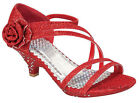 New Toddler Youth Girls Red Glitter Dress Shoes Heels Pageant Strappy Christmas