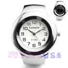 44mm Womens Silver-tone Stainless Steel Cuff Bracelet Quartz Wrist Watch