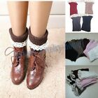 Fashion Lady Crochet Lace and Knitted Boot Cuffs Toppers Leg Warmers Socks