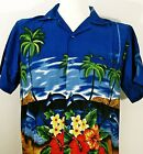 HAWAIIAN SHIRTS  Dolphin  Palm  Blue/Green/Red/Pink  for Party, Casual Wear