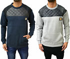 Mens Designer Voi Jeans Crew Neck Pu Leather Quilted Detail Jumper Sweater Top