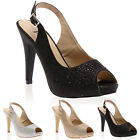 New Womens Slingback Open Toe Ladies Glitter High Heels Shoes Sandals Size 3-8