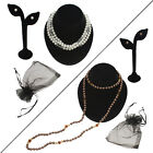 "Shell Pearl 48"" Long Slip-Over Necklace & Stud Earring Set Demi Parure Flapper"