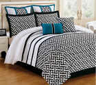 12 Piece Katia Turquoise and Black Bedding Bed in a Bag w/600TC Cotton Sheet Set