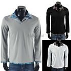 Korean Style Men 2 Collar Check Long Sleeves Tops T-shirt 4 Size 4 Colors 35DI