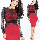 HOT Women Celeb Sexy Lace Cocktail Evening Party Business Bodycon Pencil Dress