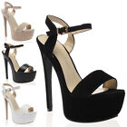 Ladies Buckle Strap Womens Platform Open Toe High Stiletto Heels Shoes Size 3-8