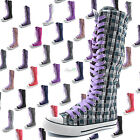 Woman Canvas Mid Calf Tall Boots Casual Sneaker Punk Flat Lavender Shoelace
