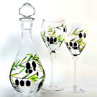DECANTER & or 4 WINE GLASSES Lead Free Crystal Hand Blown Painted OLIVE BRANCH