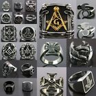 Unisex Charm Free Massion Biker Gothic Skull Punk Band Cool Stainless Steel Ring