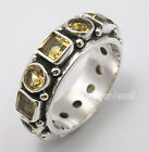 925 Silver CITRINE GEMSTONES Ring Band Any Size JEWELRY