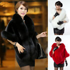 Fashion Winter Ladies Leather Grass Fake Fox Fur ShawlCloak Cape Casual Coat