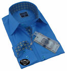 Brand New Mens Formal Light Blue Italian SlimFit Design Collar 100% Cotton Shirt
