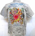 Ed Hardy CHRISTIAN AUDIGIER Mens Platinum Love Kills Kamakazi woven Shirt