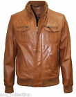 LLD Jay Mens G114 Brown Designer Bomber Classic Style Real Soft Leather Jacket