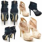 NEW WOMENS DOLCIS HIGH HEEL PEEP TOE CUT OUT ANKLE ZIP UP SANDALS SHOES SIZE UK