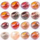 Women's Mens Faceted Agate Carnelian Gemstone Stone Finger Ring Cocktail Jewelry
