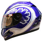 LEOPARD LEO-818 Full Face Scooter Motorcycle Motorbike Crash Helmet Blue Graphic