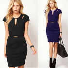 Plus size to 4XL Women Sexy Keyhole Cut Out Bodycon Pencil Summer Mini Dress 593