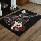 NEW MODERN SMALL MEDIUM LARGE EXTRA LARGE BLACK RED BOYS ROCK GUITAR SOFT RUGS
