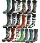 Women's Puddles Rain Boot Mid Calf Buckle Strap Snow Warm Round Toe Rainboots