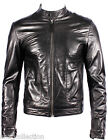 Men's New Black Napa Soft Real Lambskin Italian Leather Biker Rock Zipper Jacket