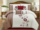 7 Piece Ivory/Taupe/Burgundy Floral Embroidered Comforter Set