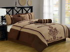 11 Piece Coffee and Taupe Embroidered Bed in a Bag w/500TC Sheet Set