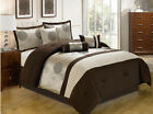 11 Piece Platinum and Chocolate Jacquard Bed in a Bag w/500TC Cotton Sheet Set