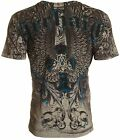 Archaic AFFLICTION Mens T Shirt DIFFUSION Cross Wings GREY Tattoo Biker UFC 40