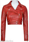 Liz Wine Cropped Ladies Biker Fashion Washed Sheep Nappa Leather Short Jacket