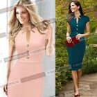 Size S to 4XL Formal Women Work Business Bodycon Short Sleeve Summer Dress Y754