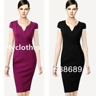 Vintage Stylish Women Overlapped V Work Bodycon Evening Pencil Party Dress Y737