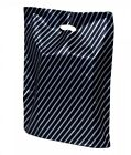 """SMALL BLACK & SILVER STRIPE GIFT BAGS BOUTIQUE MARKET PLASTIC CARRIER BAG 7x10"""""""