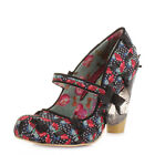 WOMENS IRREGULAR CHOICE SECRET PAIR BLACK BLOCK HIGH HEEL COURT SHOES SIZE