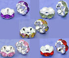 100 Perles intercalaires Cuivre Rondelle Strass 8mm M0165