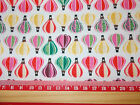 "Pink / Green Hot air balloons Fabric / sold by the metre 44"" wide Polycotton"