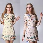 Europe Women Lace Butterfly Printed  Half Sleeve Crewneck Lady Mini Party Dress