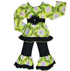 AnnLoren Girls Rose Vine Tunic Shirt and Pants outfit 12/18m - 9/10