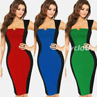 Vintage Women Patchwork Wiggle Bodycon Pencil Evening Party Summer Dress Y447