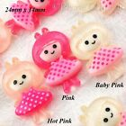 Kawaii Flatback Resin Doll in Swiss Dot Dress Cabochon Embellishment