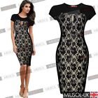 Womens Sexy Black Lace Cut Out Party Evening Bodycon Going Out Dress Club Wears