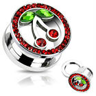 Pair Cherry CZ/Gem Rim 316L Surgical Steel Screw Fit Tunnels/Plugs/Sexy-Hot(P39)