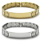 """Stainless Steel 8"""" Personalized Center Grooved Links Bracelet (Choose Color)"""
