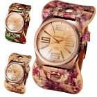 Women Faux Leather Chic Stylish Geneva Flower Analog Quartz Bracelet Wrist Watch